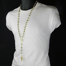 Mens Hip Hop 8mm GOLD Beads 14kt G.P Diamond-Shape Rosary & Jesus Cross Necklace
