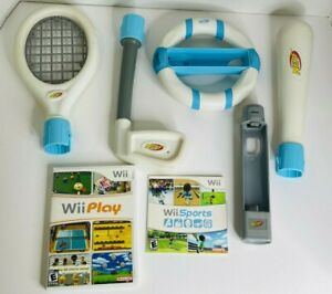 NINTENDO Wii SPORTS AND Wii PLAY BUNDLE LOT with Nerf pack Attachments