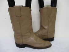 JUSTIN Taupe Leather Roper Cowboy Boots Size 6 B Style L3710 USA