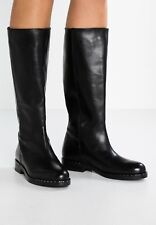 Jonak pull on black real leather boots size 5