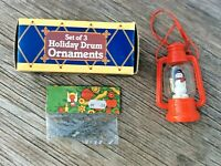 Mixed Lot Ornaments: 3 Holiday Drums, Red Snowman Lantern, Ornament Hangers