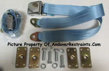 "Chrome Lift Lap Seatbelt Seat Belts(2) With Retrofit Mtg Kit, 60"", Powder Blue"