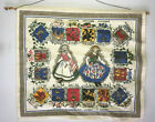 Mid Century Swedish Wall Hanging Print Showing Names of all Provinces