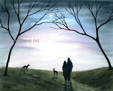 6836 DIANNE HEAP GREYHOUND WHIPPET LURCHER DOGS PAINTING TREES WALK ART COUPLE
