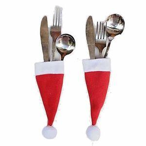 Christmas Santa Cutlery Folk Spoon Xmas Hat Holders Bottle Hats Table Decoration