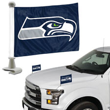 Seattle Seahawks Set of 2 Ambassador Style Car Flags - Trunk, Hood