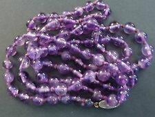 VINTAGE GRADUATED REAL AMETHYST BEAD NECKLACE, SILVER CLASP