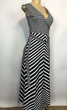 Talbots New $97 Stretch Stripped Maxi Dress Womens Size XS Sleeveless Cross Over