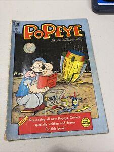 Popeye #5, Dell, 1949, Rocket ship on moon cover Ungraded Estate Fresh