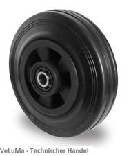 Vollgummi Rad schwarz 200mm Rolle Räder Ersatzrad Transportrolle INKL Montageset