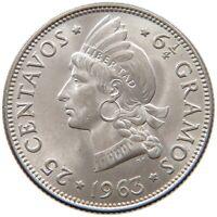 DOMINICAN REPUBLIC 25 CENTAVOS 1963 TOP #s35 207
