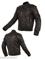 Noir Pour Hommes CE Renforcé Moto Cuir Veste Classique Style Motard