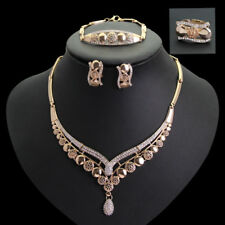 Fashion Gold Plated CZ Necklace Earring Ring Bracelet Women Wedding Jewelry Set