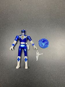 1995 Mighty Morphin Power Rangers The Movie Blue Ranger w Coin and Gun *used*