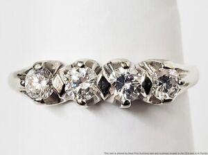 Fine White Four Diamond Vintage Solid 14k White Gold Ring 0.50ctw 4 Stones