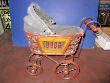 BB: ANTIQUE VICTORIAN ORNATE BABY DOLL CARRAGE BUGGY STROLLER CANVAS FOLD CANOPY