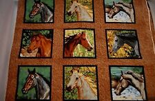 Horse Fabric By The Yard Horses Scenes in Squares Western Quilting Cotton