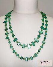 Collana Lunga Perle,Madreperla,Cristalli,Pietra Dura da Donna, Verde