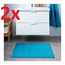 2 IKEA TOFTBO Anti-Slip Microfibre Bath Mat Bathmat Bathroom Rug 60x90 Turquoise