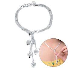 925 Sterling Joyería de plata Brillante Colgante de corazón Borla Collar Regalo