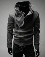 Mens Zip Up High Neck Sweatshirt Sport Casual Hoodies Jumper Tops Coats Outwear