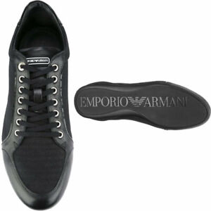 EMPORIO ARMANI Mens Trainer Leather Sneaker Shoes Lace Up Low Logo Printed UK 6