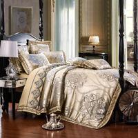 Luxury European Satin Jacquard Jutecell 100% Cotton Bedding Set Queen King Sheet
