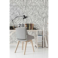 Mount Black Non-Woven wallpaper Sketch of Mountains Pattern Roll Home Mural