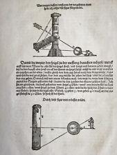 Original Leaf Apian Instrument Buch (14) Woodcut 1st. Edition 1533