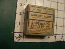 unused old store stock - S B PENICK & co CRUDE DRUGS - RASPBERRY LEAVES