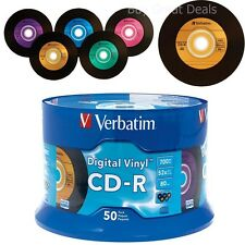 NEW 50 Disc Verbatim Digital Vinyl Spindle 700 MB CD-R 80 min Music Data Storage