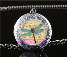 Dragonfly Photo Glass Tibet Silver Chain Locket Pendant Necklace#T5