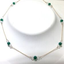 """New 14k Gold Necklace w/Green Agate & Cut Crystal Beads 18"""""""