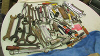 Vintage Woodshop Mechanic wrenches sockets tools men's art mixed Junk Drawer Lot