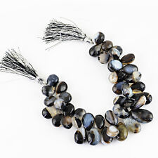 396.75 CTS / 7.5 INCHES NATURAL DRILLED RICH BLACK ONYX UNTREATED BEADS STRAND