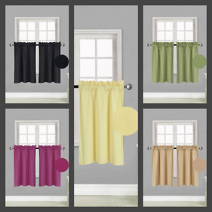 "1 PAIR Kitchen Rod Pocket Silk Window Tier Curtain Lined Blackout 30""X 36"" RS5"