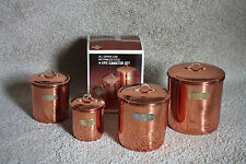 Vintage Copper/Stainless Steel Canister Set 4pc Korea with Original Box
