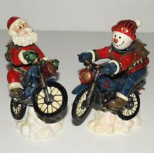 Snowman Santa Riding Motorcycles Bobble Figurines Lot of 2 Winter Christmas Snow
