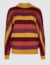Batwing striped jumper Size 14 16 (L) M&S Collection funnel neck Brand New