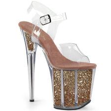 "8"" Clear Red Glitter Platform Heels Stripper Exotic Pole Dancer Pleaser Shoes"