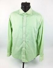 Express Design Studio Shirt Sz L Long Sleeve Button Front Green White Striped