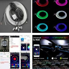 6M RGB LED Car Interior Neon EL Strip Bluetooth Phone Control Sound Active Light