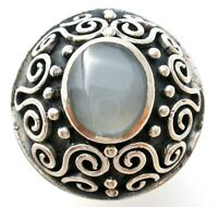 Vintage Blue Lace Agate Dome Ring Sterling Silver Size 9 Gemstone Jewelry W