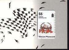 AUSTRALIA TELECOM PHONECARD FOLDER ADELAIDE 1990 GRAND PRINX NUOVO PERFETTO