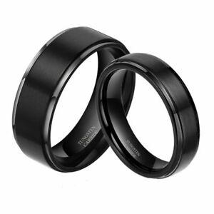 Free Engraving - Tungsten Carbide Black Brushed Step Edge Wedding Band Ring Set