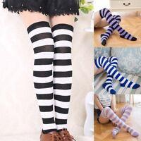 Women Girls 2018 Stripe Stripy Over The Knee Thigh High Stockings Long Socks w