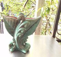 Vtg Art Deco Gonder Art Pottery Vase USA Turquoise Teal Pink Mid Century Retro