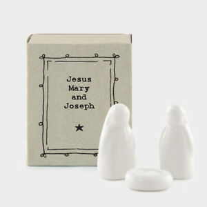 East Of India Porcelain Nativity In Matchbox Jesus Mary and Joseph