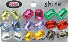 Colorful faceted faux gems post stud earrings 9 pair plastic clutch party favor