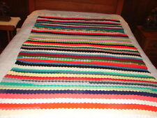 Multi Colored Handmade Handcrafted Crochet Afghan Throw Blanket ~ nice desigh